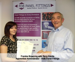 Frankie Browning recieving her award from Terry Cantle MD of FDB Panel Fittings