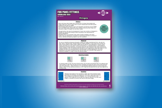 New guide to hinges and their use from FDB Panel Fittings