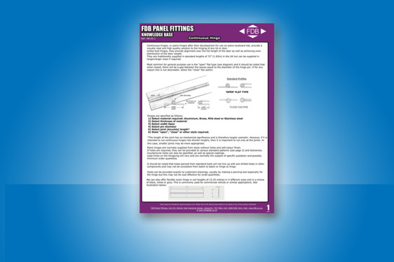 Continuous hinges knowledge base guide from FDB Panel Fittings
