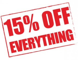 FDB 15 percent off sticker