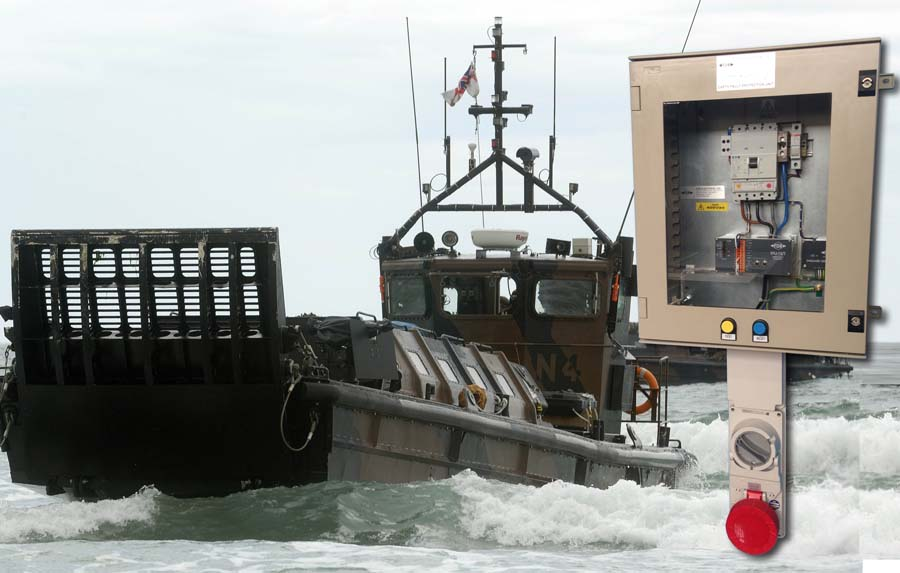 FDB Electrical FDB19/STS provides ship to shore power for landing craft. Landing craft photo: ©Crown Copyright 2014