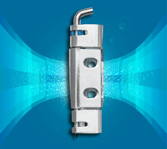 Surface mounted 120 degree door hinge with secured hinge pin from FDB Panel Fittings